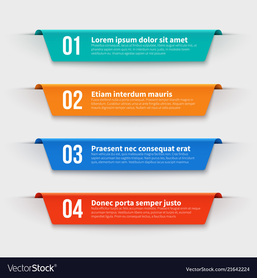Infographic banners color labels with steps and