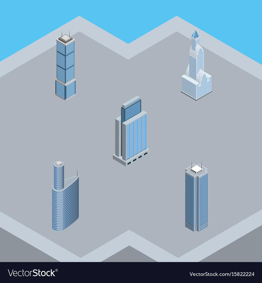 Isometric construction set of skyscraper building