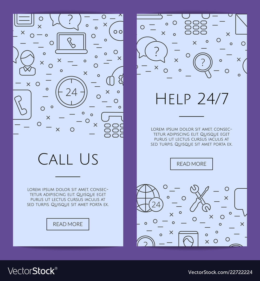 Line call support center icons web banner
