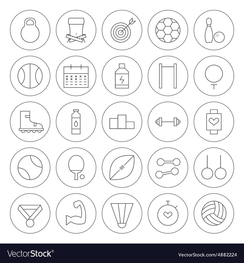 Line Circle Sport and Fitness Icons Set