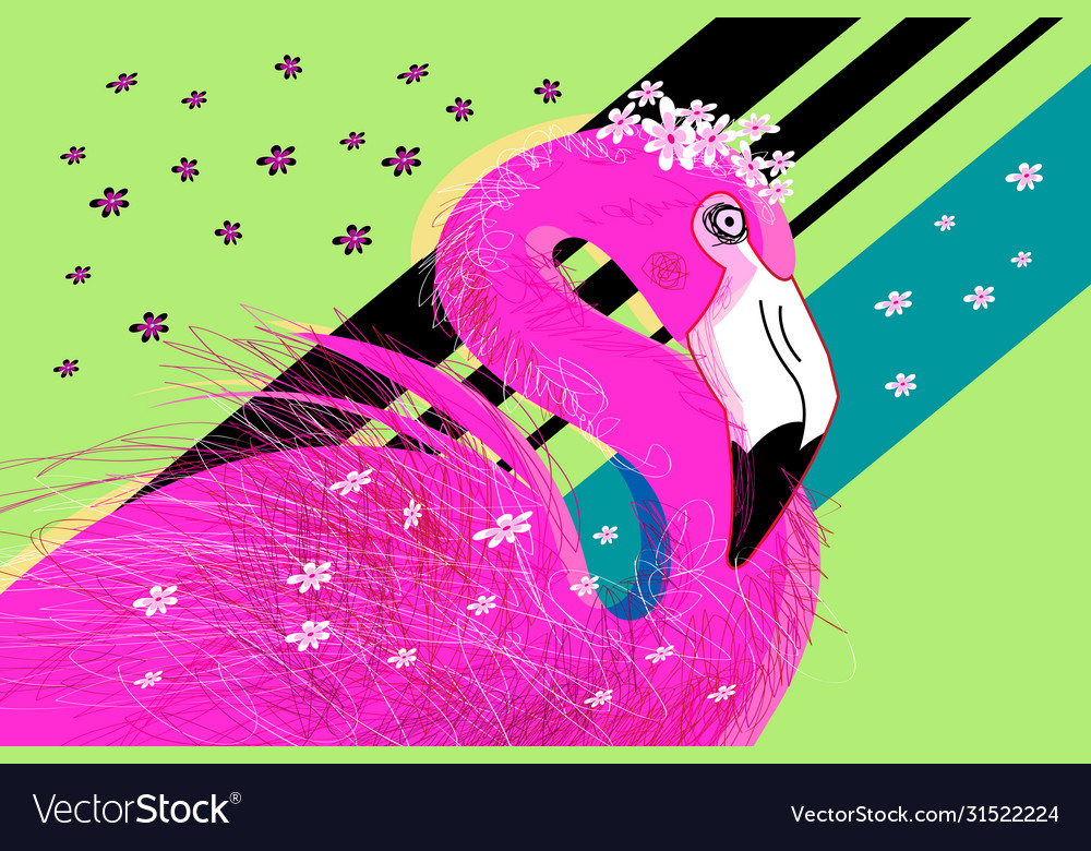 Lovely pink flamingo in colors portrait