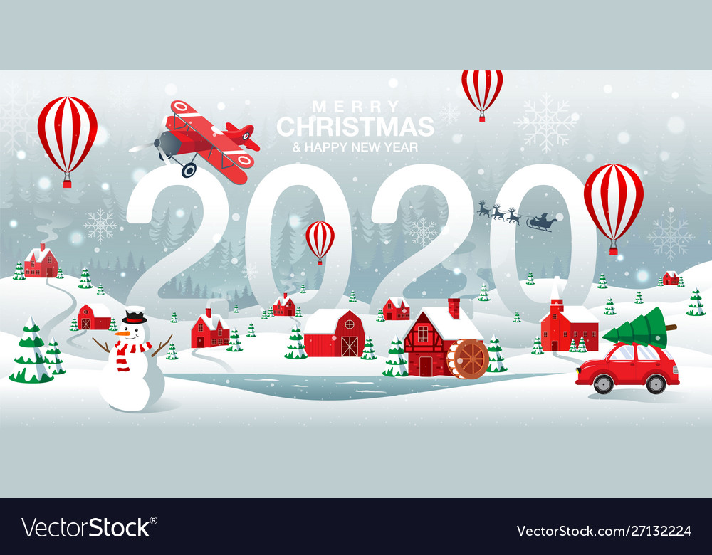 Merry christmas and happy new year 2020 home town