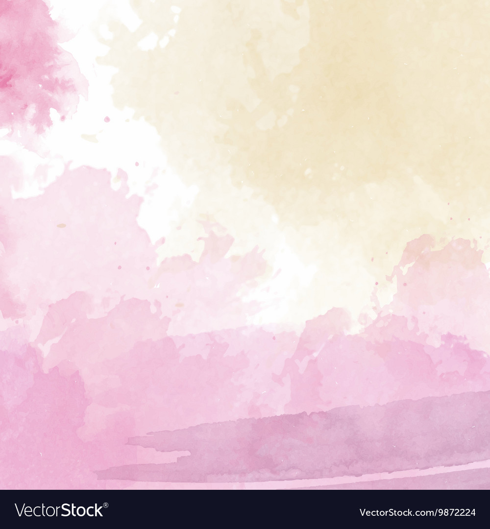 Pink and yellow watercolor background vector image