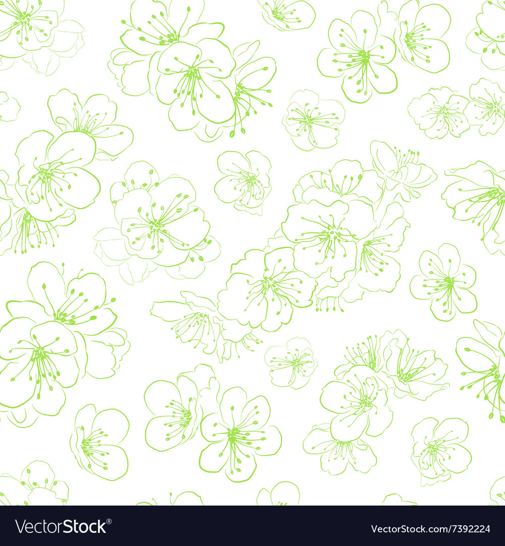 Seamless pattern cherry blossoms