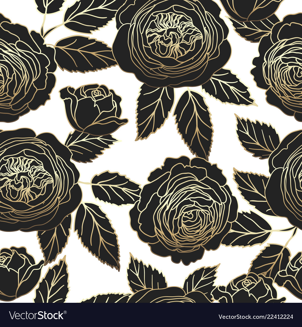 Seamless pattern with graphic dark and golden rose