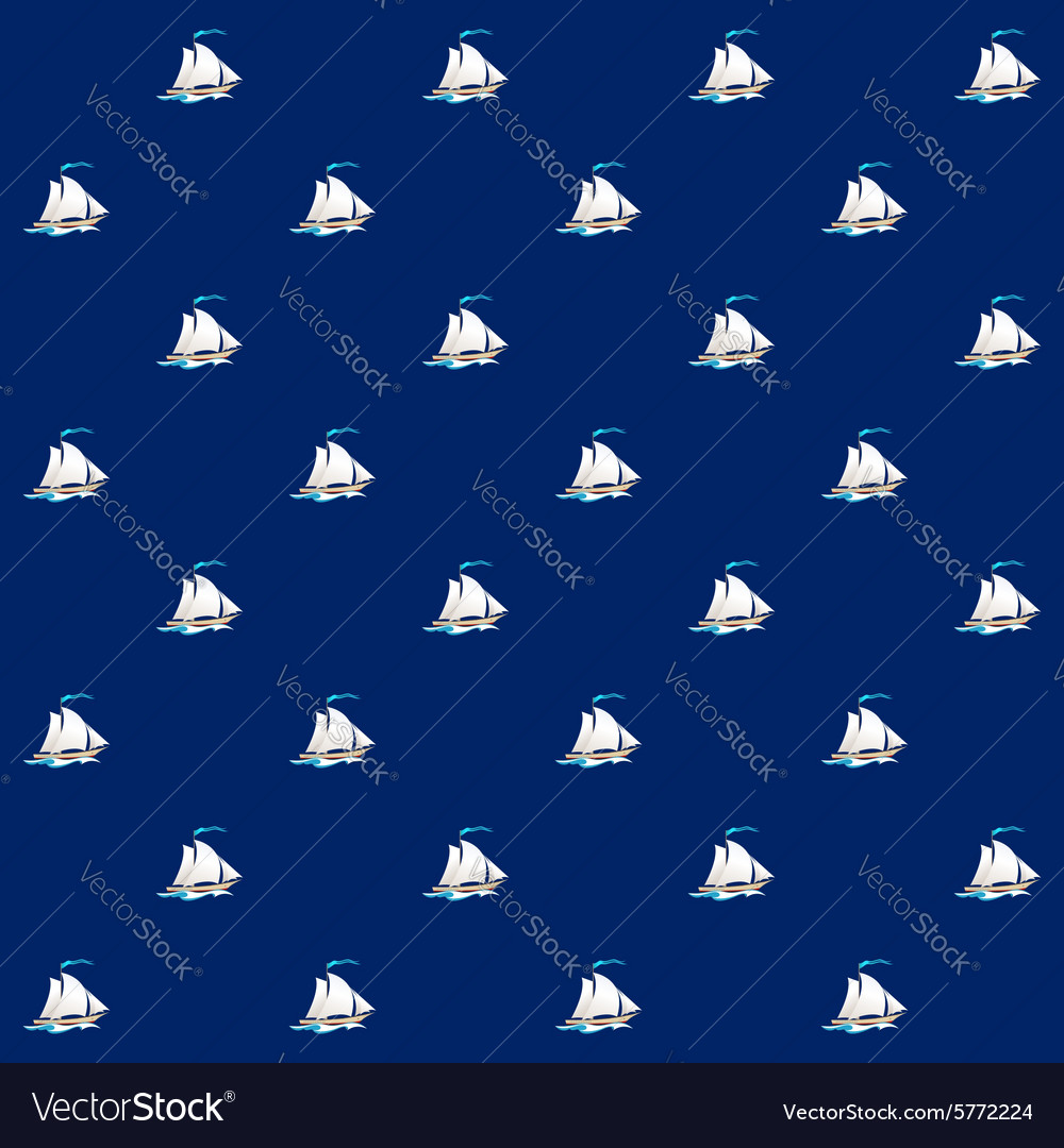 Seamless Pattern with Sailing Vessel vector image