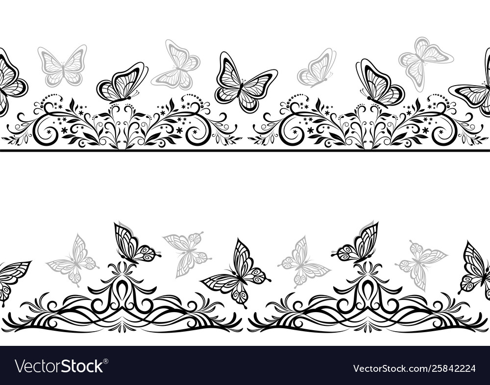 Seamless patterns with black butterflies