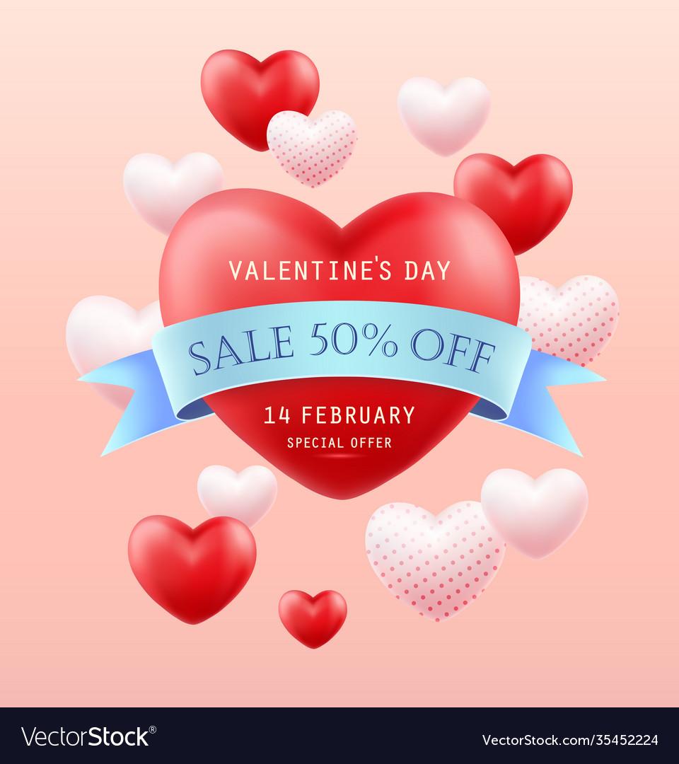 Valentines day sale banner flyer poster