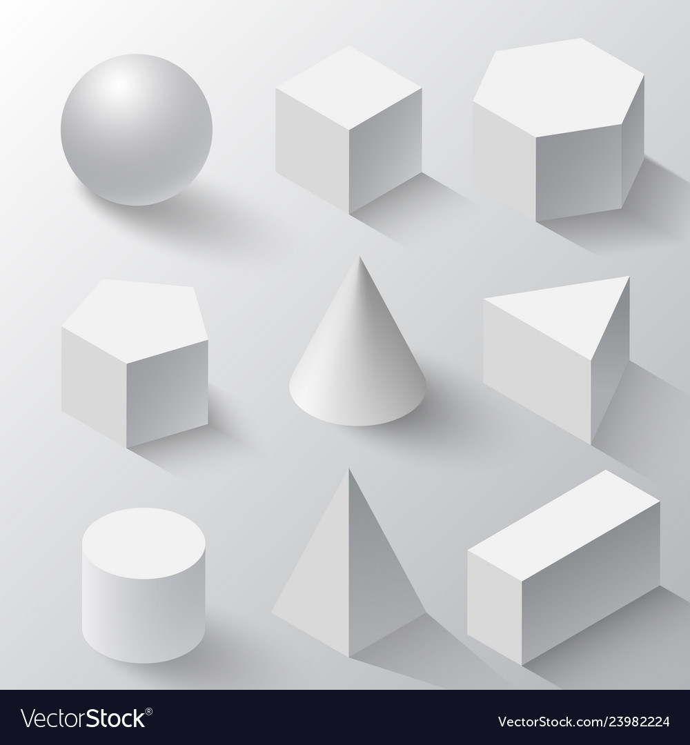 White cube cylinder sphere and cone