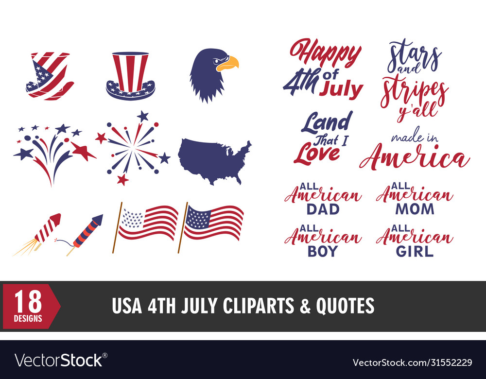4th july usa independence day icon and quote