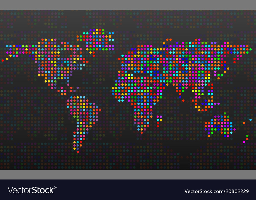Abstract world map from colorful dots