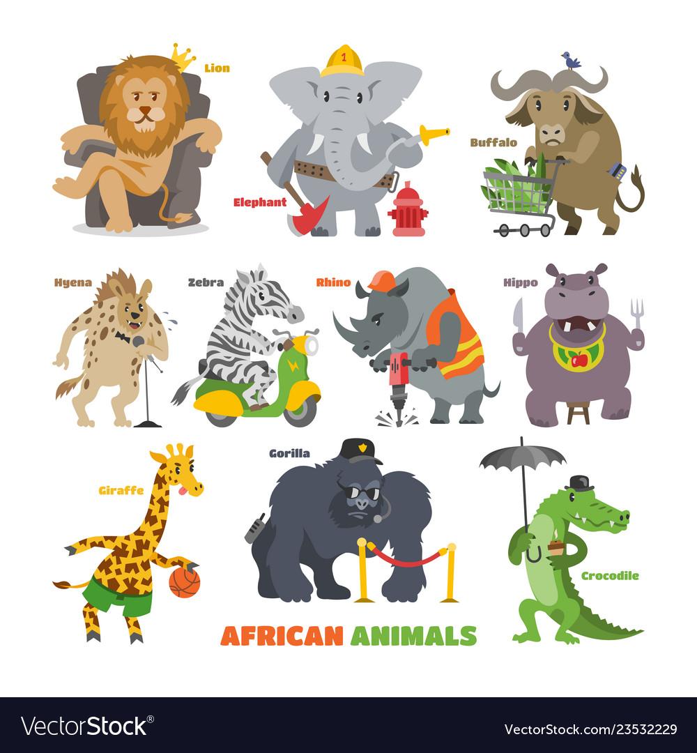 African animals cartoon wild animalistic