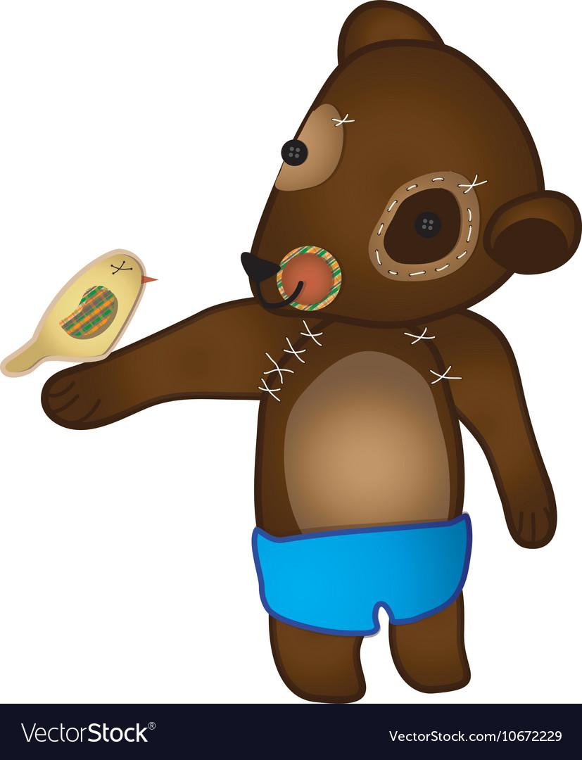 Bear holding a little bird vector image