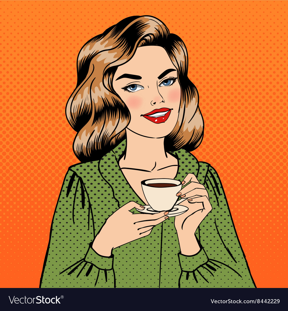 Beautiful Woman with Cup of Coffee Pin Up Girl