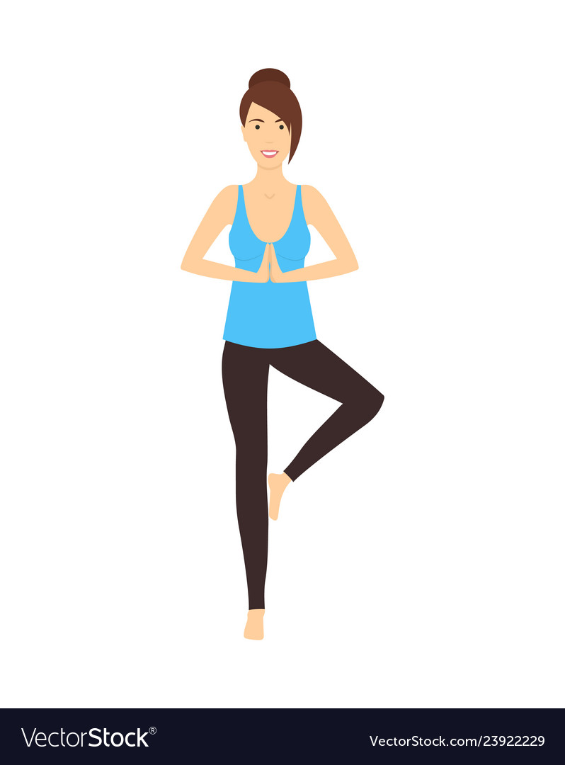 Cartoon Character Woman Doing Yoga Exercises Vector Image