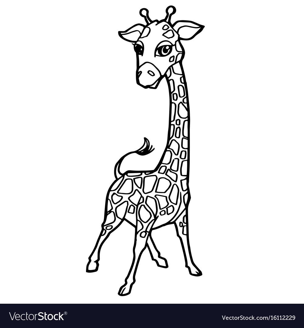 Cartoon cute giraffe coloring page Royalty Free Vector Image