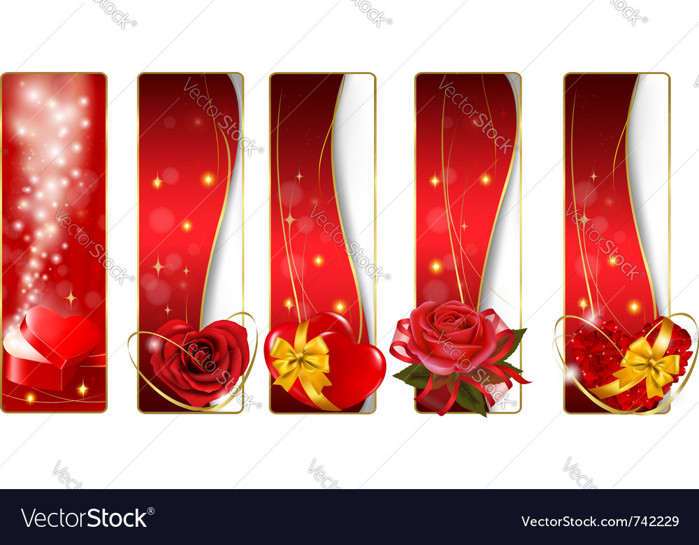 Collection of colorful valentine banners vector image