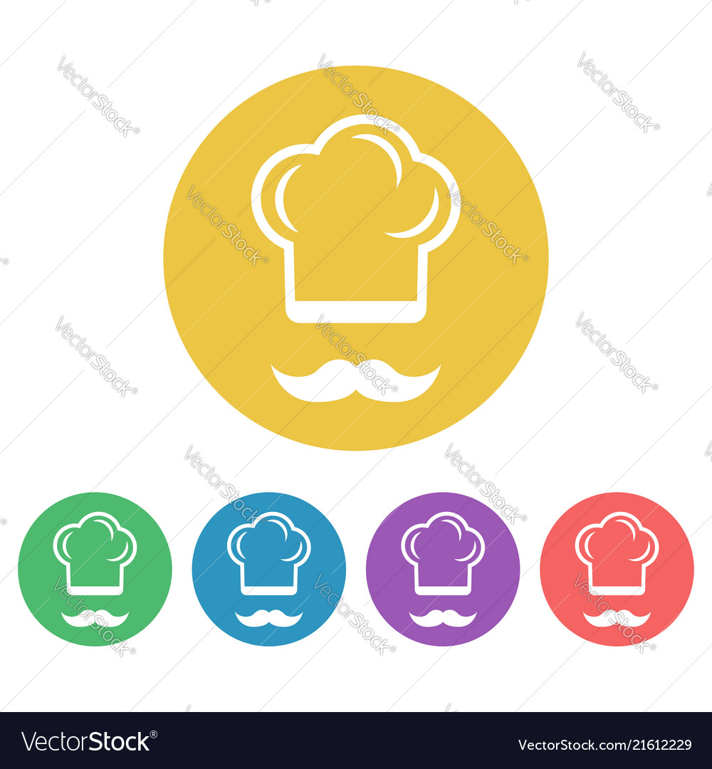 Cook colored flat style round icons