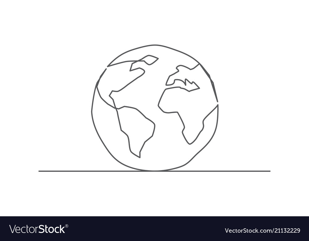 Globe one line drawing