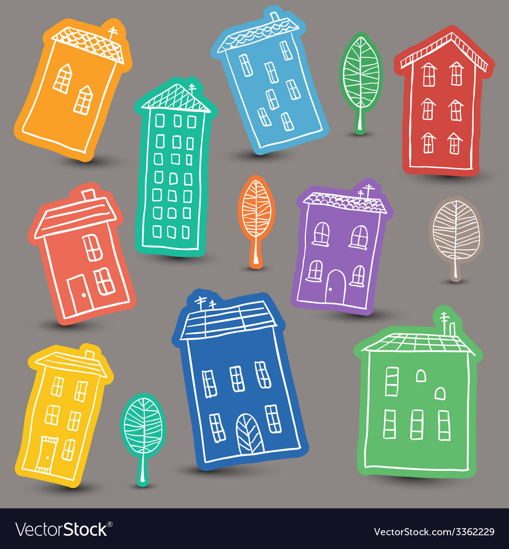 Houses doodles on colored background vector image