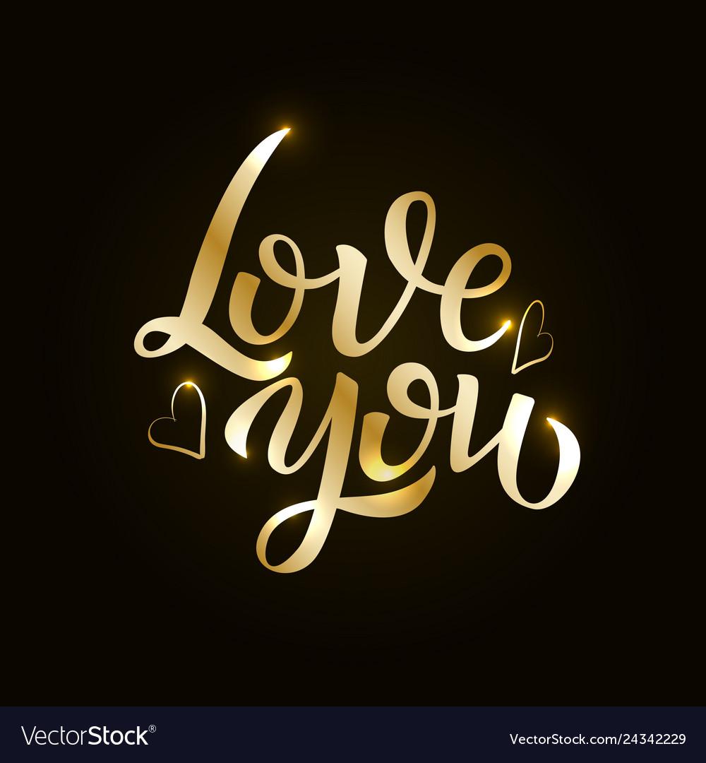 Love gold hand drawn brush calligraphy