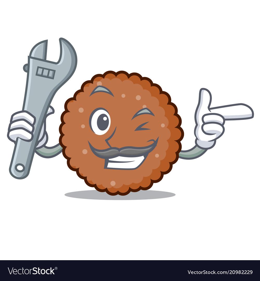 Mechanic chocolate biscuit mascot cartoon