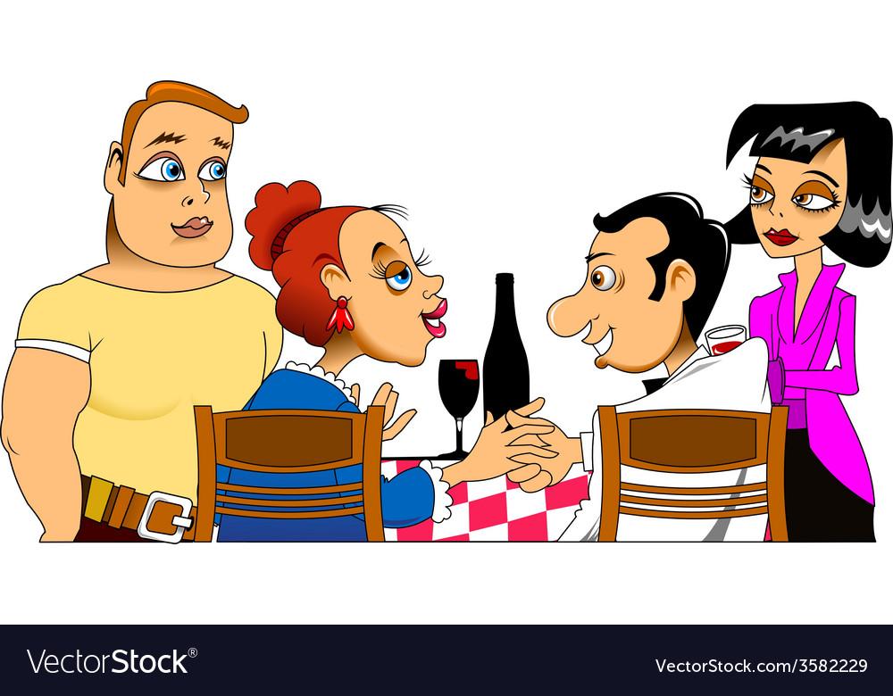 Meeting Friends Cartoon Royalty Free Vector Image