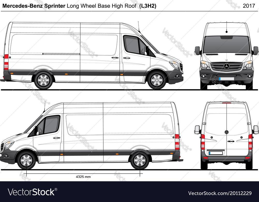 Mercedes Sprinter Lwb High Roof Van L3h2 2017 Vector Image