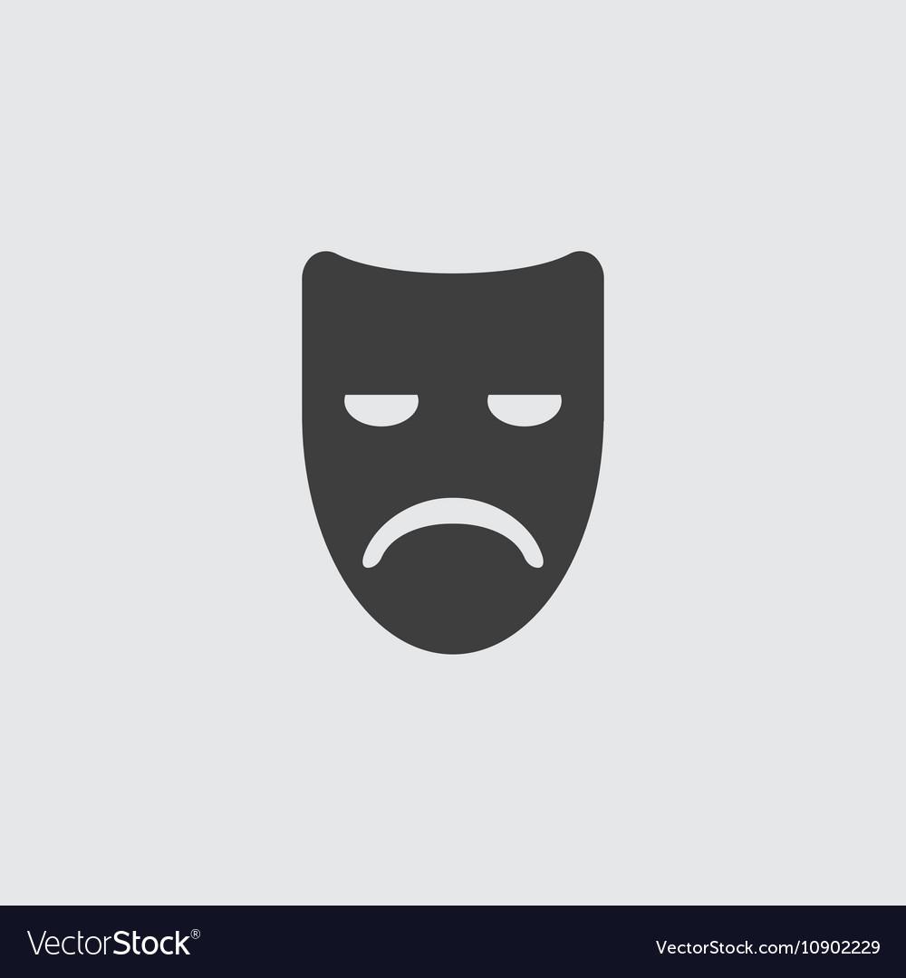 Sad mask icon vector image