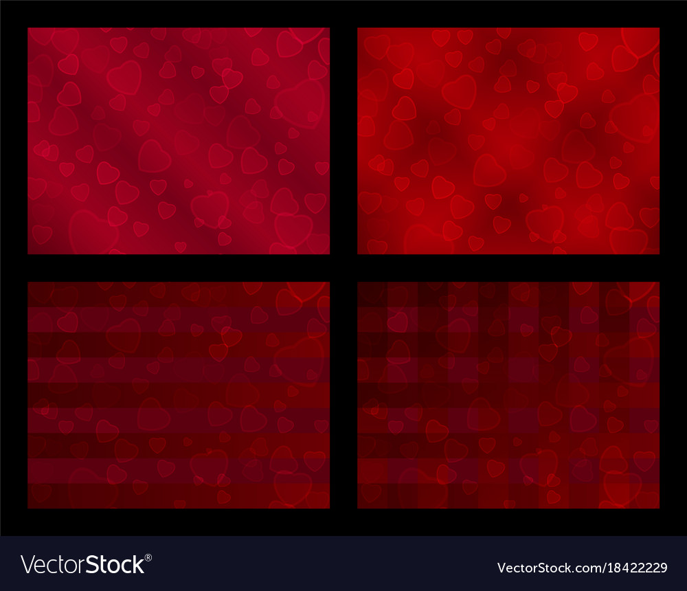 Set of backgrounds with hearts in a blood-red vector image