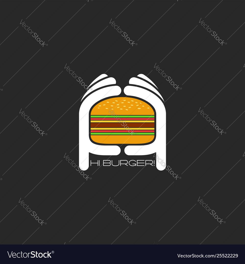 Two hands hold a hamburger logo burger fastfood