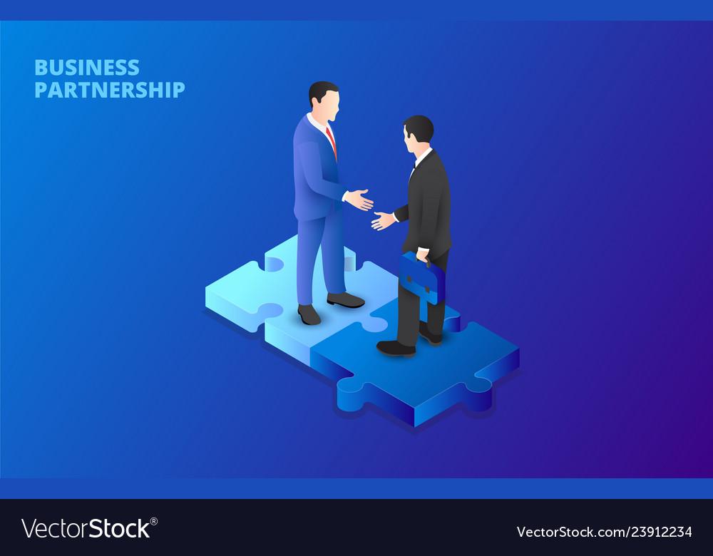 Businessman handshake on puzzle partnership