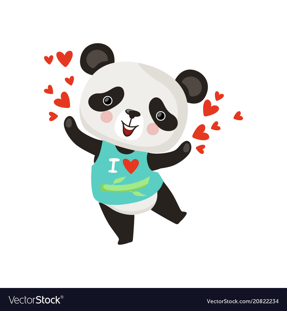 Cartoon character little panda in t-shirt