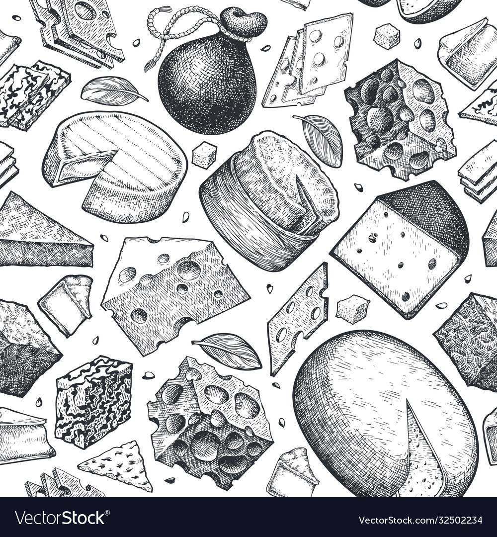 Cheese seamless pattern hand drawn dairy