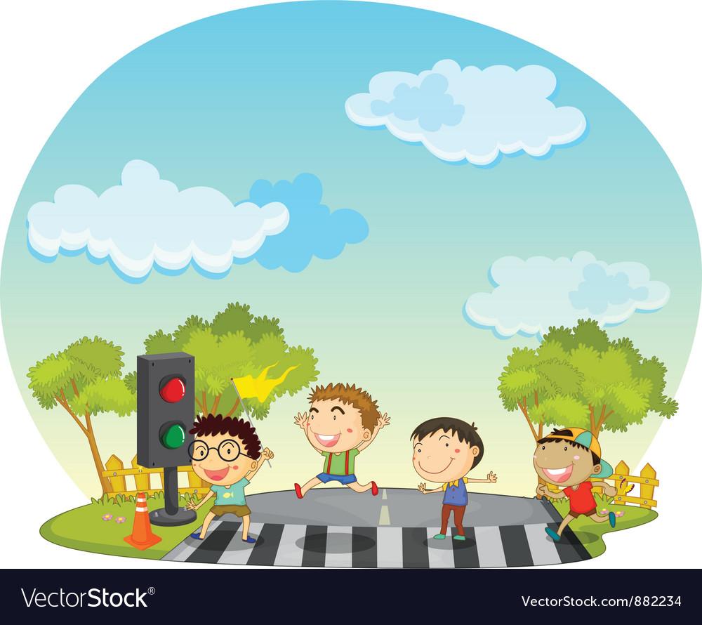 Children crossing street vector image