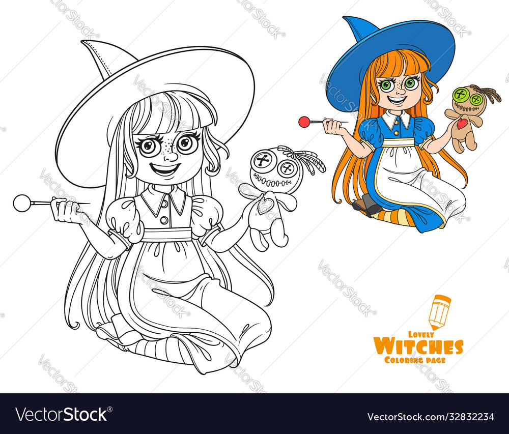 Cute girl in witch costume sitting on floor