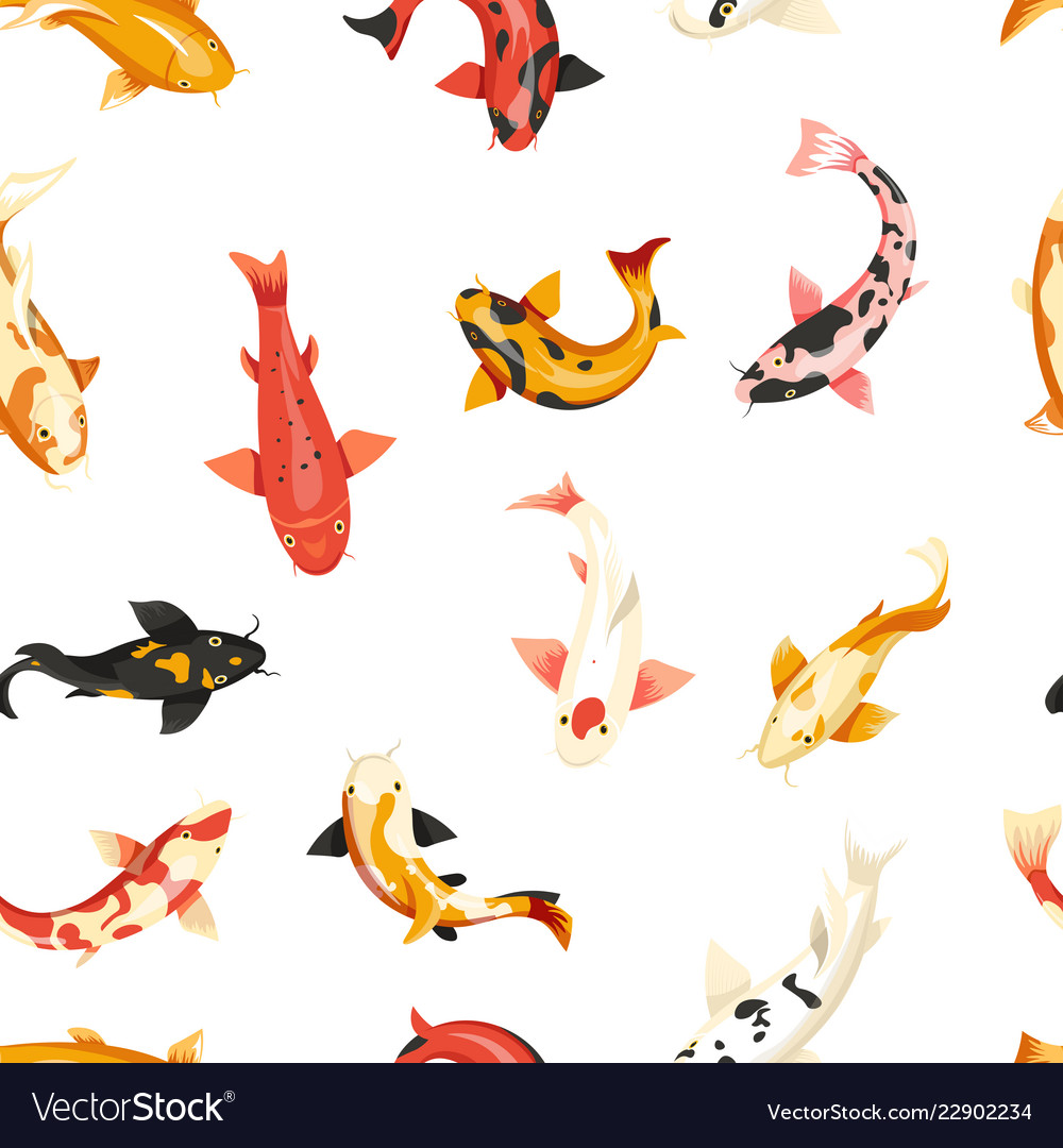 Fish exotic cold blooded animals seamless pattern