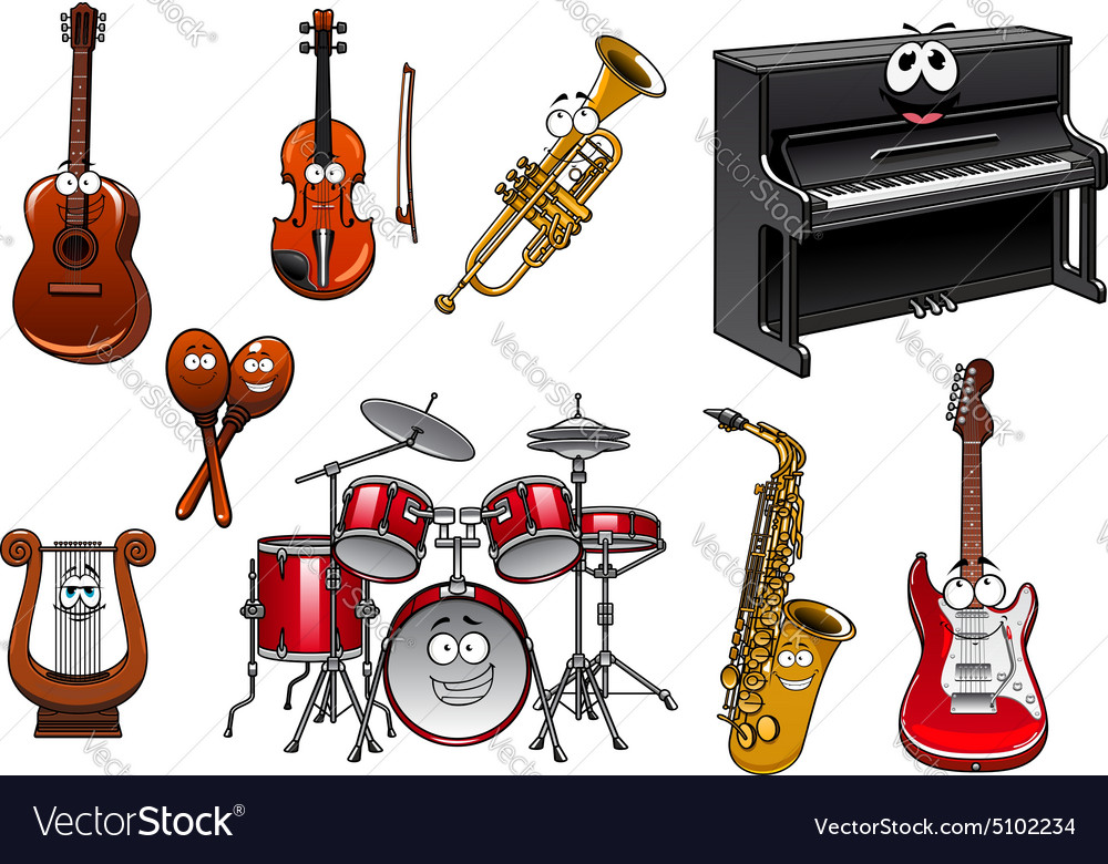 Cartoon Violin Images: Funny Musical Instruments Cartoon Characters Vector Image