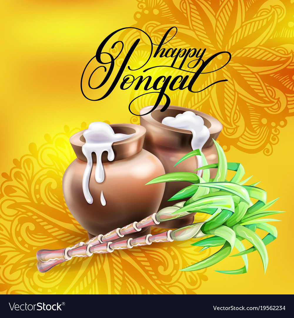 Happy Pongal Greeting Card To South Indian Harvest