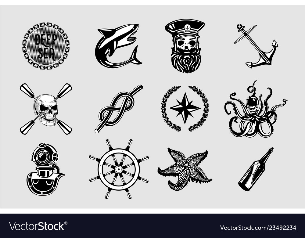 Nauitical icons set vintage marine signs