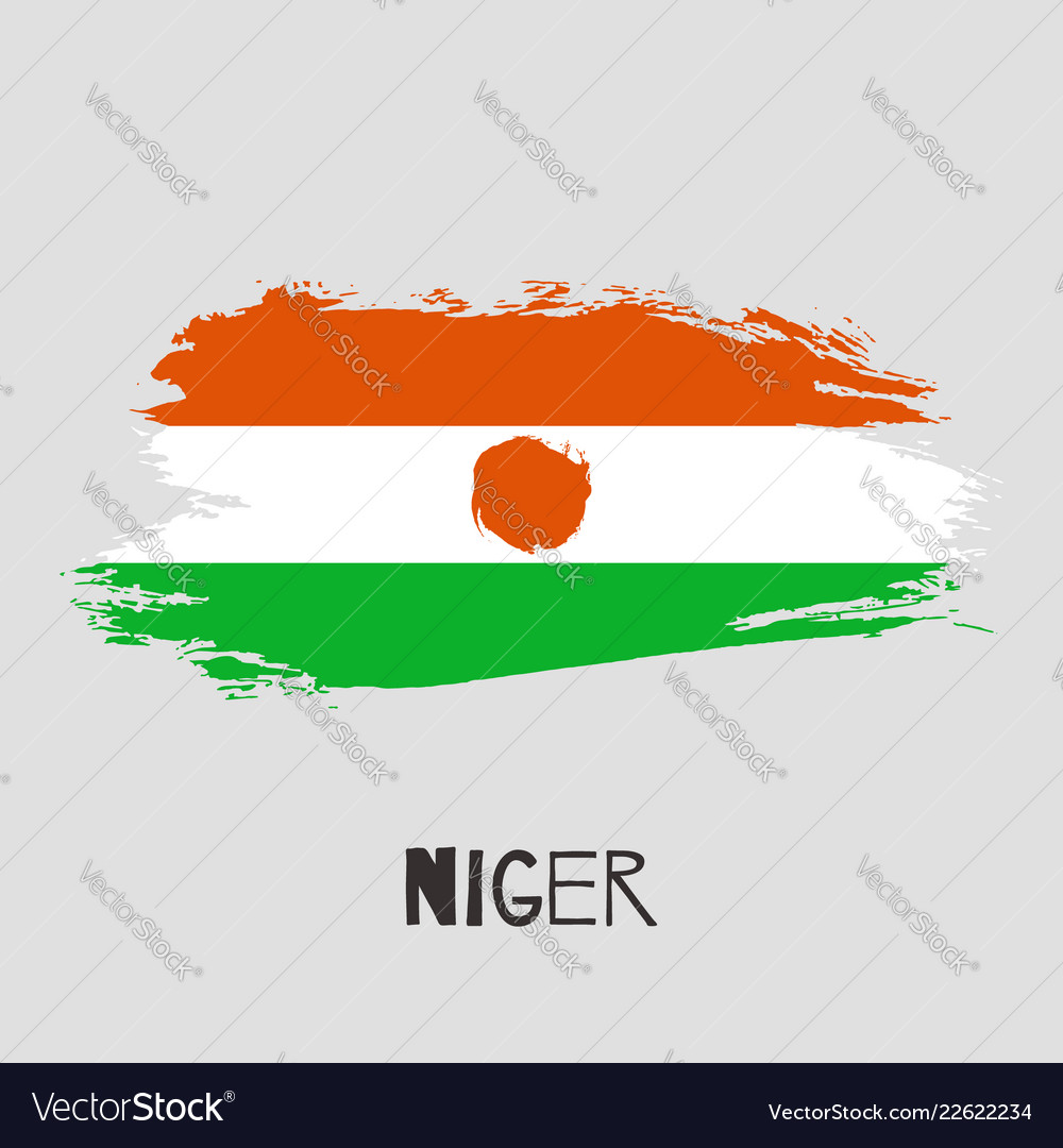 Niger watercolor national country flag icon