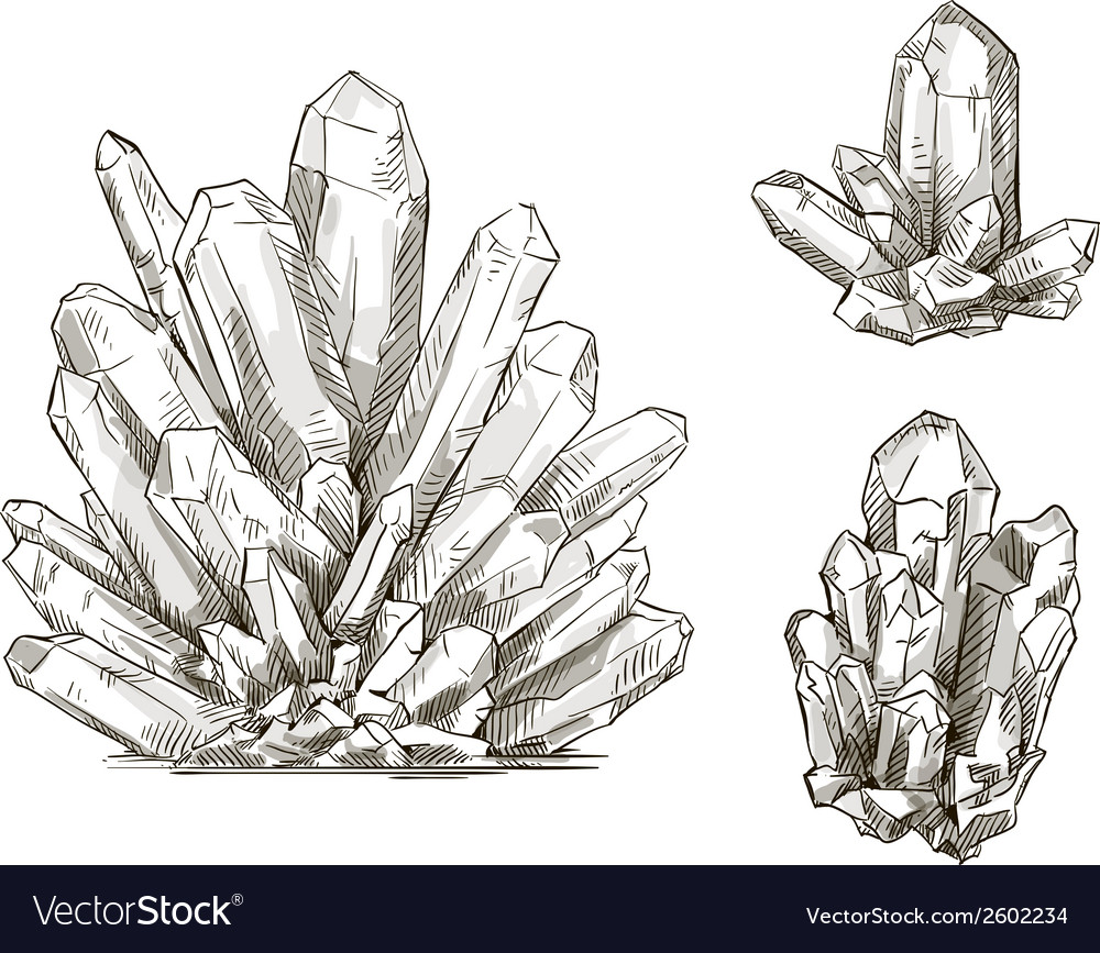 Set of crystals drawings vector image