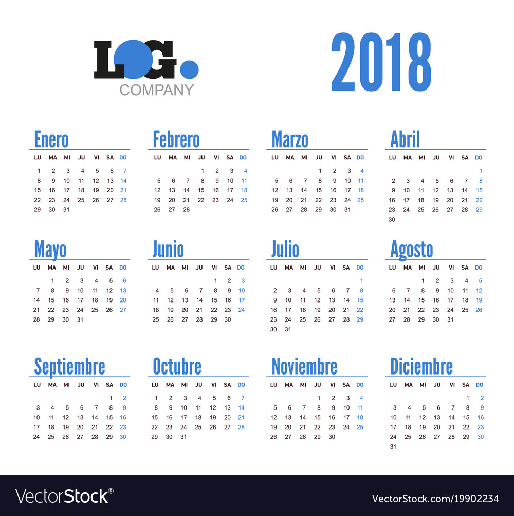 spanish horizontal calendar on 2018 year vector image