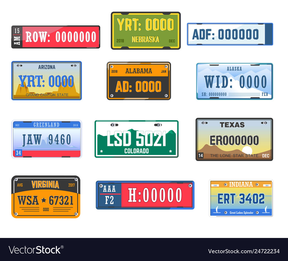 Vehicle license car number plates american states