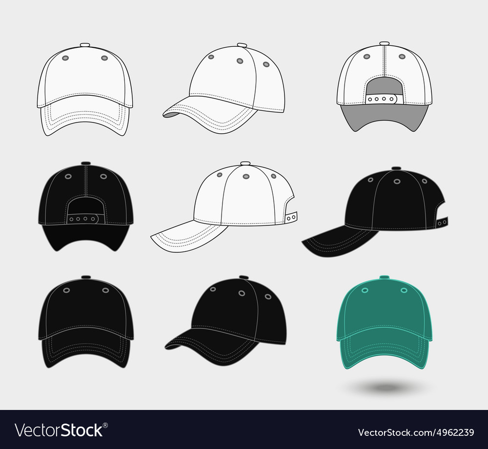 Baseball cap Back front and side view