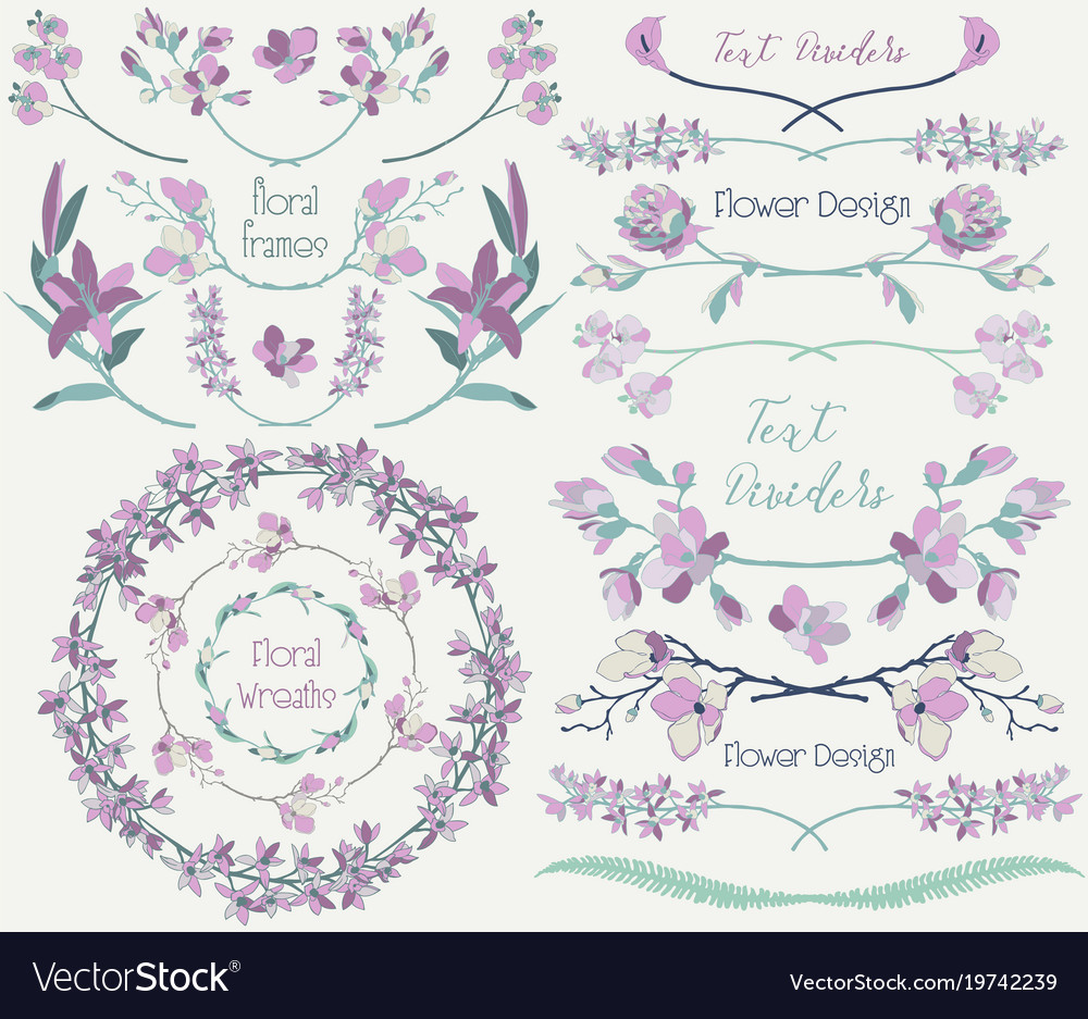 Big collection of floral design elements dividers