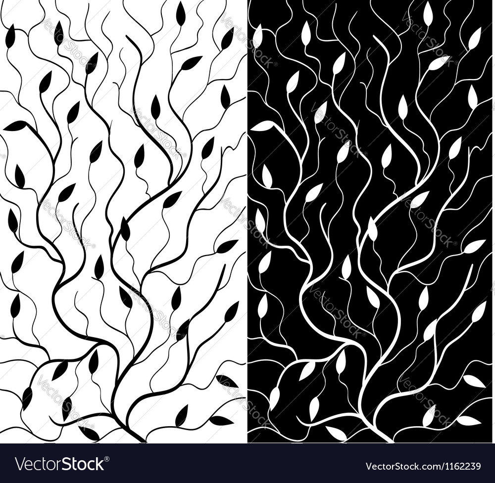 Black And White Floral Background Royalty Free Vector Image