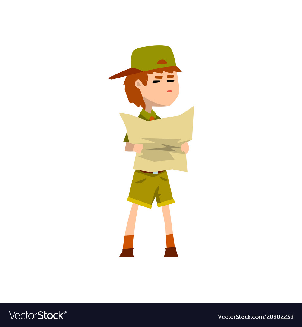 Boy scout character in uniform holding tourist map