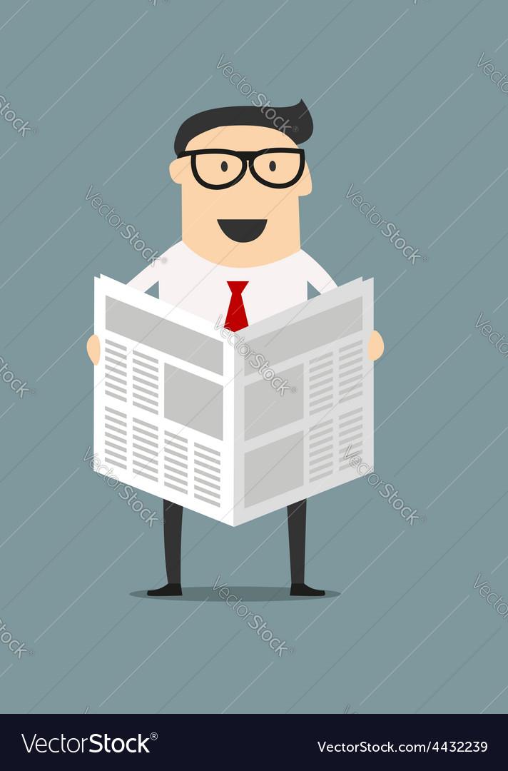 Cartoon businessman reading a newspaper