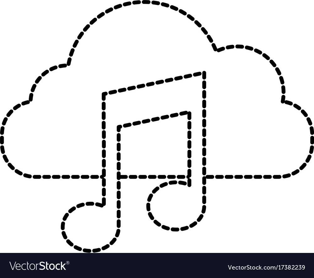 Cloud computing music note sound digital button